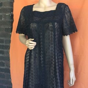 80s black sheer dress
